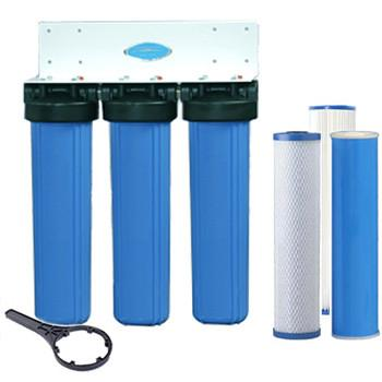 Crystal Quest Whole House Compact Water Filter Big Blue Triple SMART Series - PureWaterGuys.com