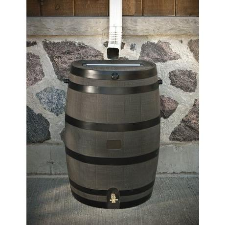 RTS - RAIN BARREL - FLAT BACK 50 Gallons-190L-Woodgrain - PureWaterGuys.com