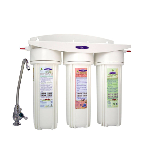 Crystal Quest Mega Undersink Triple Replaceable Nitrate Water Filter System - PureWaterGuys.com