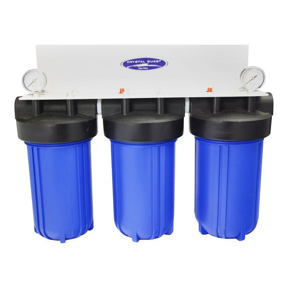 Crystal Quest Whole House Compact Water Filter Blue Triple - PureWaterGuys.com