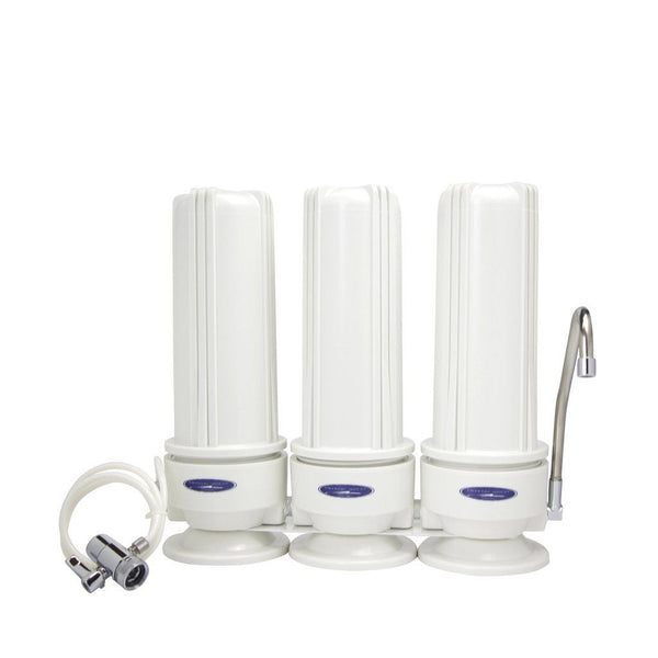 Crystal Quest Fluoride Removal Triple Cartridge Countertop Water Filter System - PureWaterGuys.com