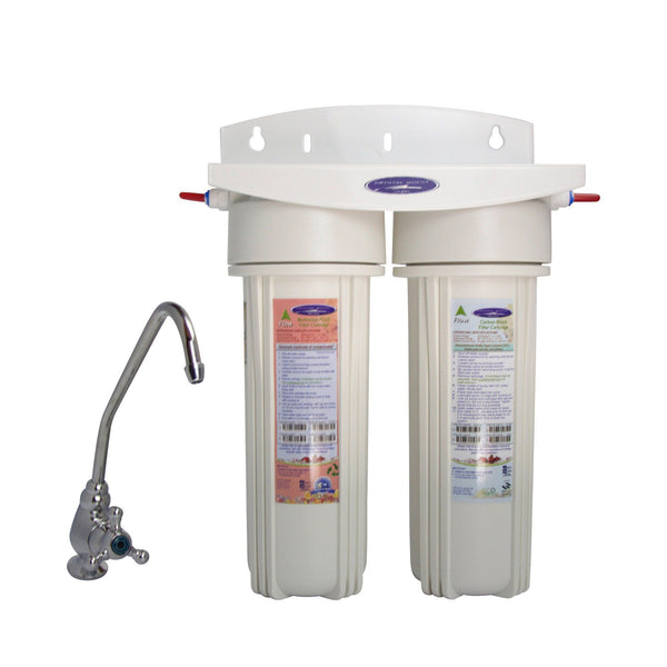 Crystal Quest Mega Undersink Double Replaceable Fluoride Multi Water Filter System - PureWaterGuys.com