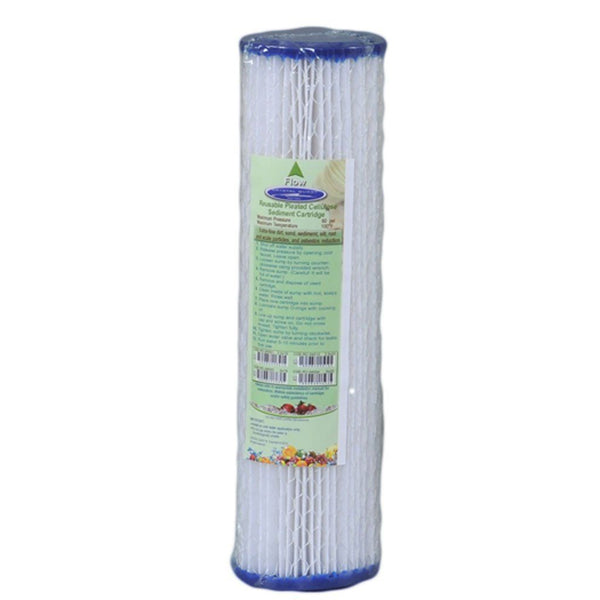 "Crystal Quest 2-7/8"""" x 9-3/4"""" 5-Micron Sediment Reusable Pleated Cellulose Filter Cartridge - PureWaterGuys.com"