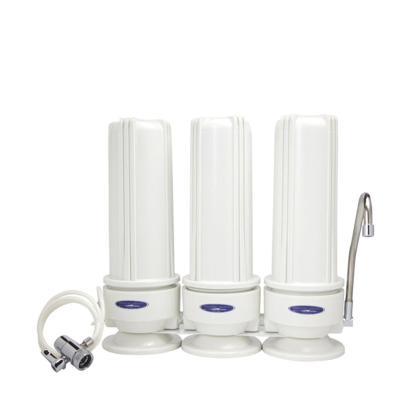 Crystal Quest Countertop  Triple Replaceable Nitrate Water Filter System - PureWaterGuys.com