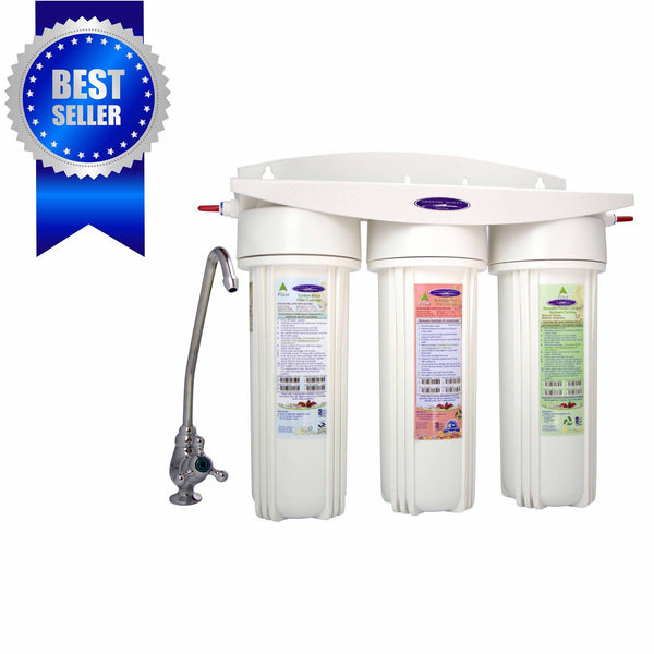 Crystal Quest Mega Undersink Triple Replaceable Fluoride Water Filter System - PureWaterGuys.com