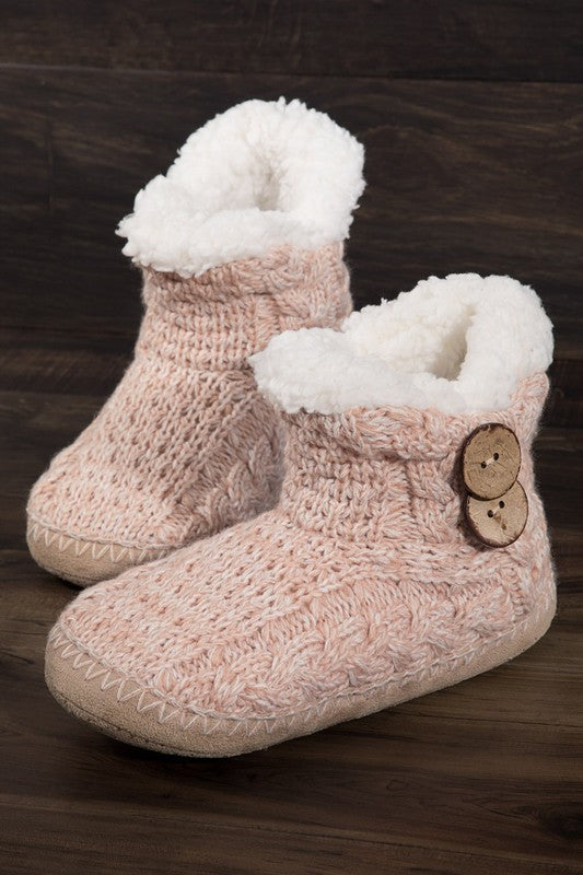 Button Accent Slipper Boots