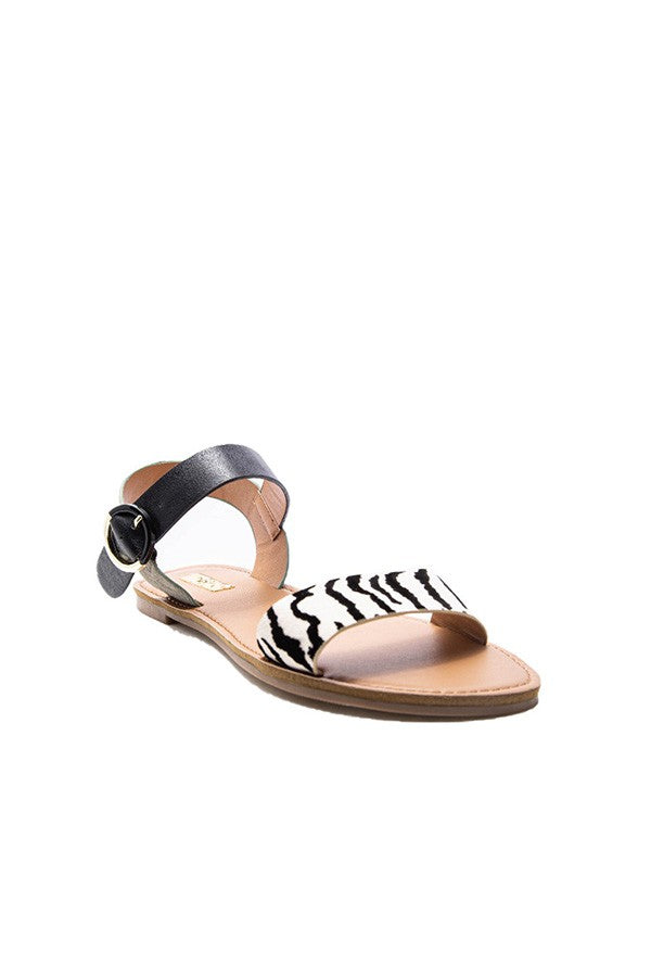 Open Toe Ankle Strap - Stone/Black