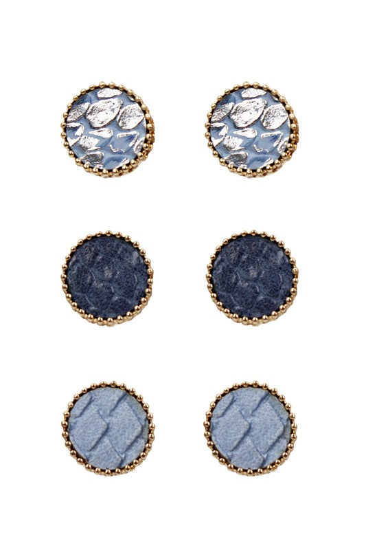 3 Pair Stud Earring Set