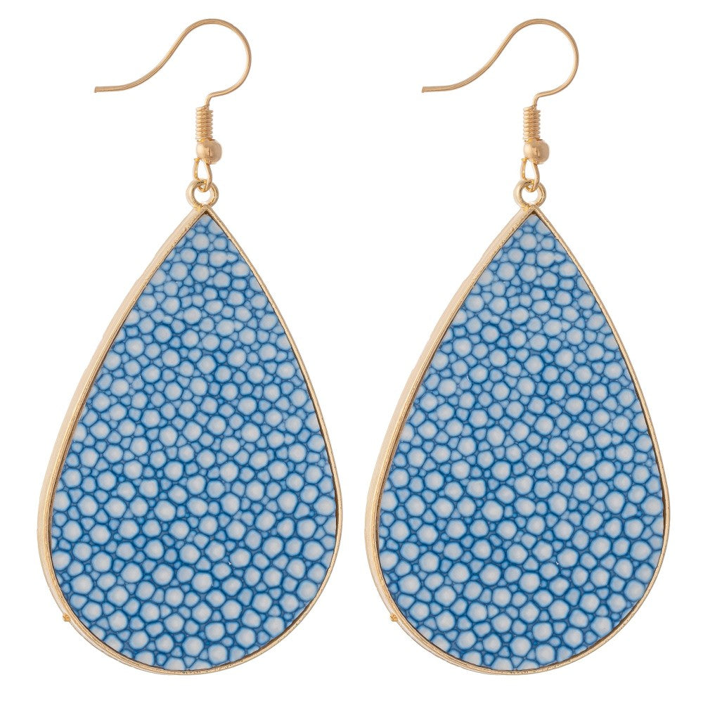 Pebble Faux Leather Earrings - Aqua
