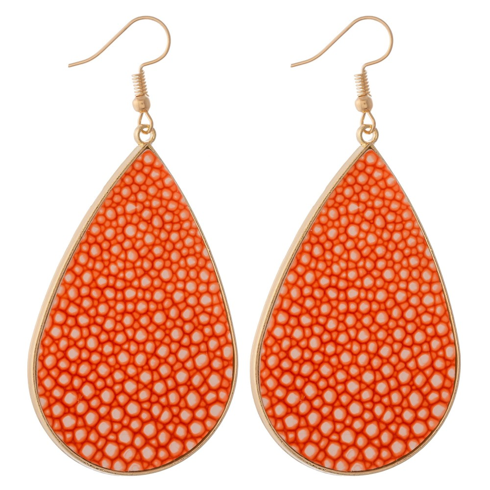 Pebble Faux Leather Earrings - Orange