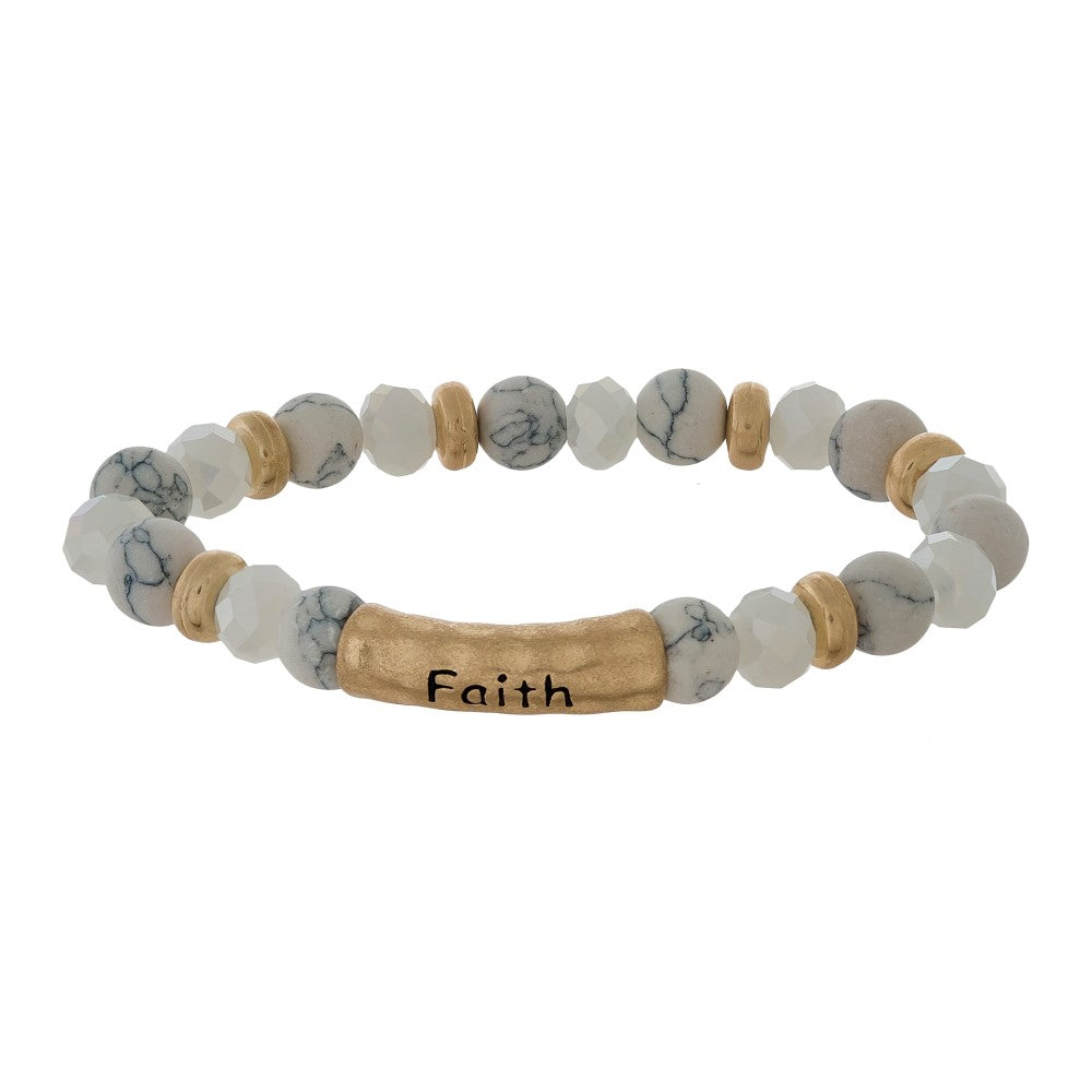 Faith Natural Stone Bracelet - HOWLITE