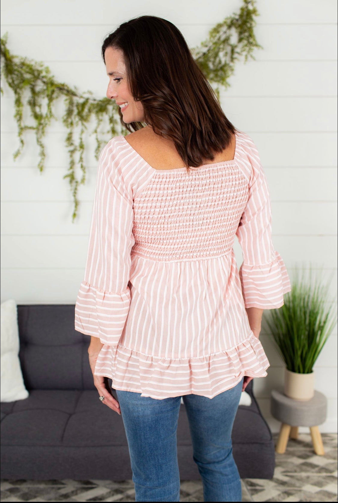 Harley Smocking Ruffle Top - Dusty Pink