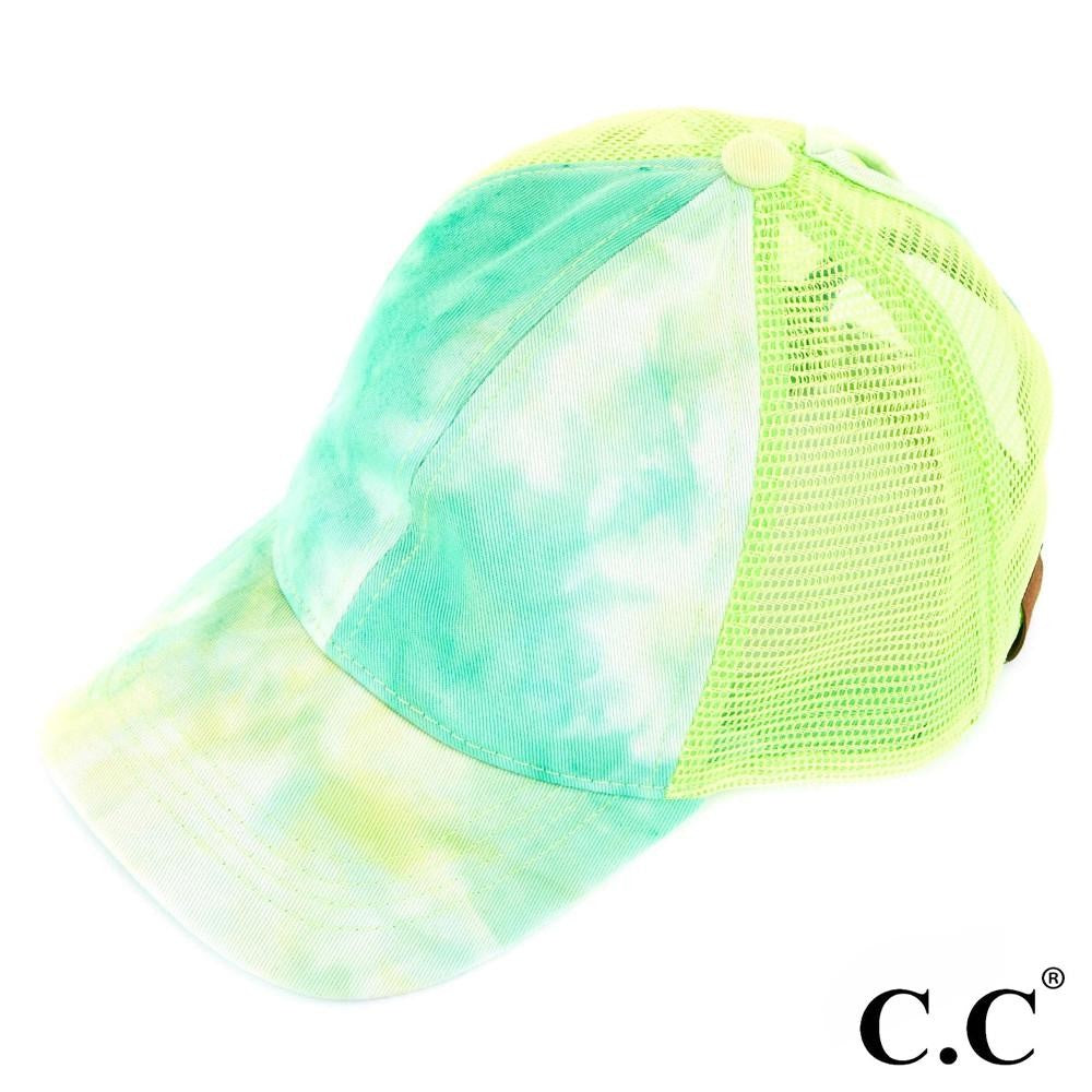 Tie Dye Ponytail Hat - Mint
