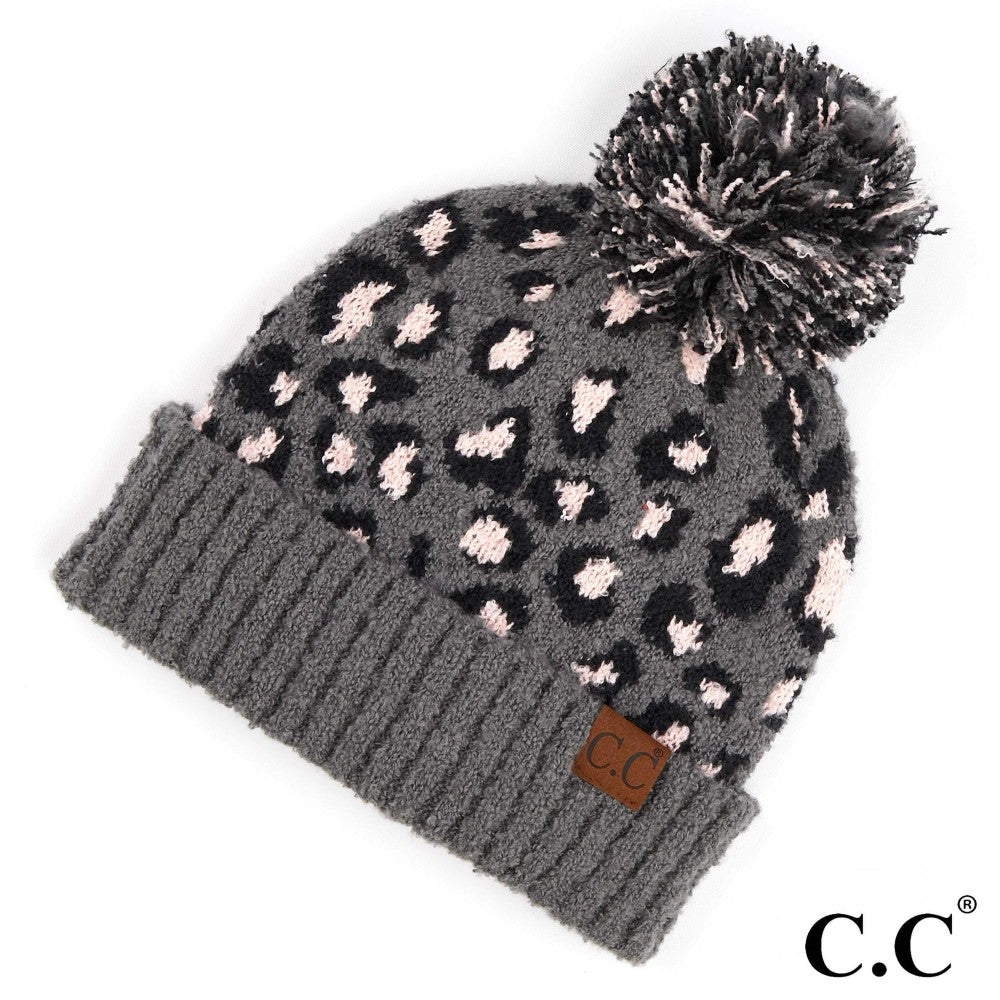Leopard Knit Pom Beanie - Light Melange Grey