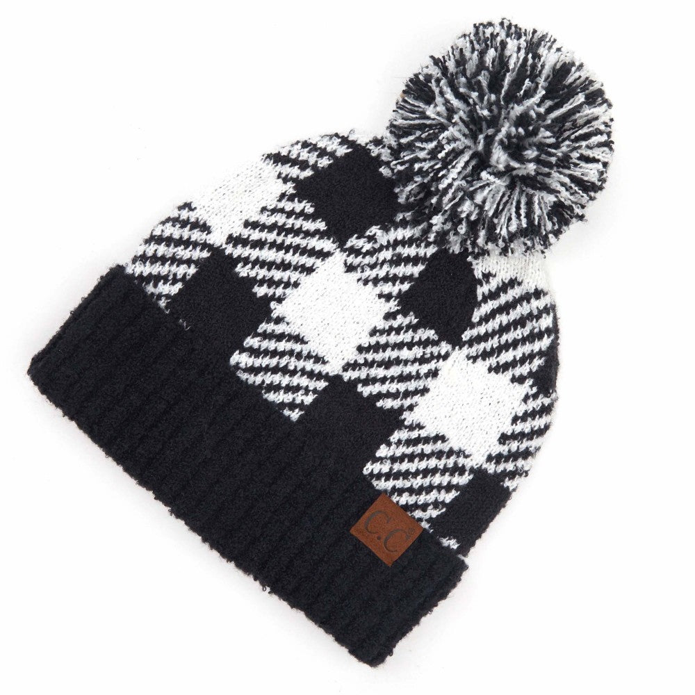 Buffalo Check Pom Beanie - Black/White