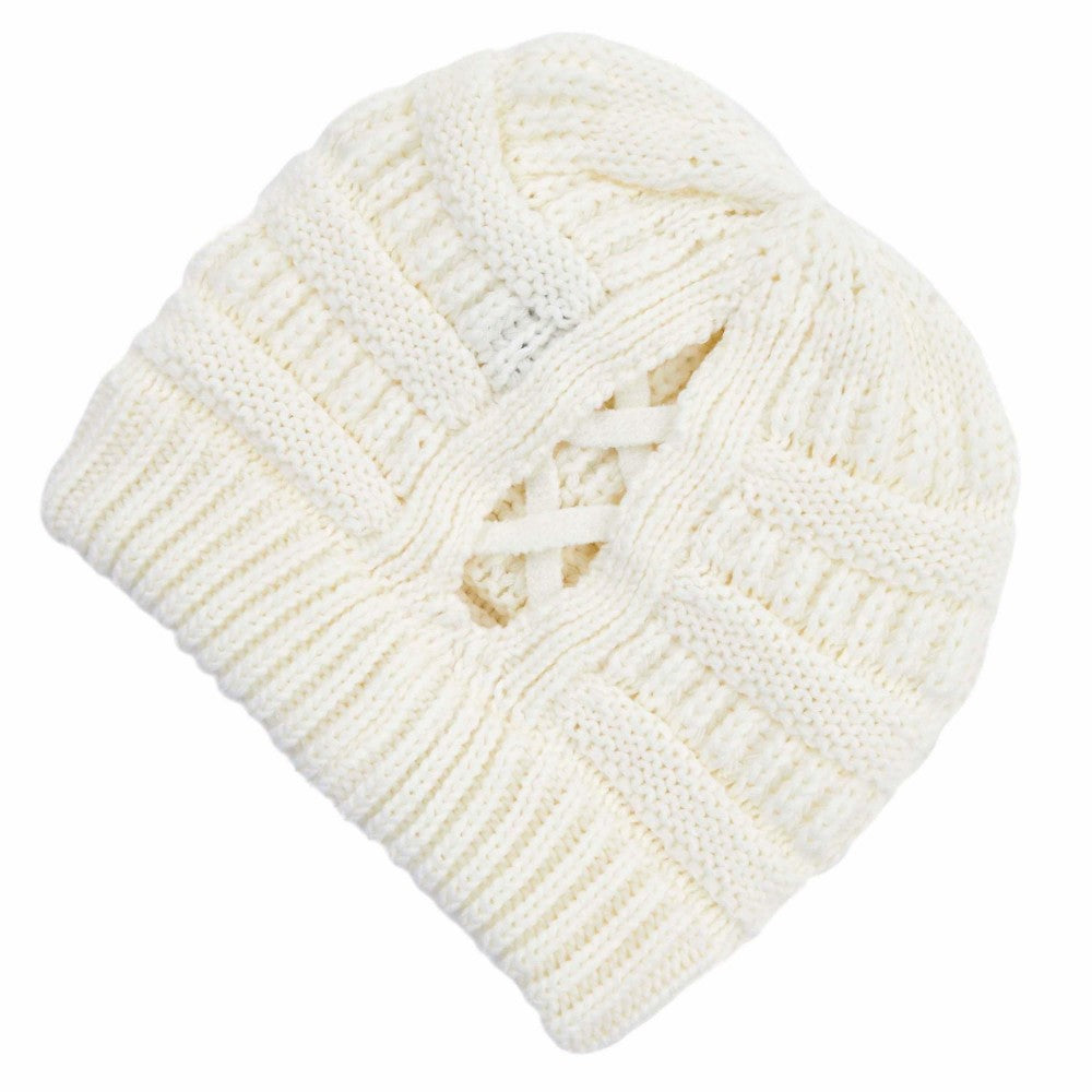 Criss Cross Ponytail Beanie - Ivory