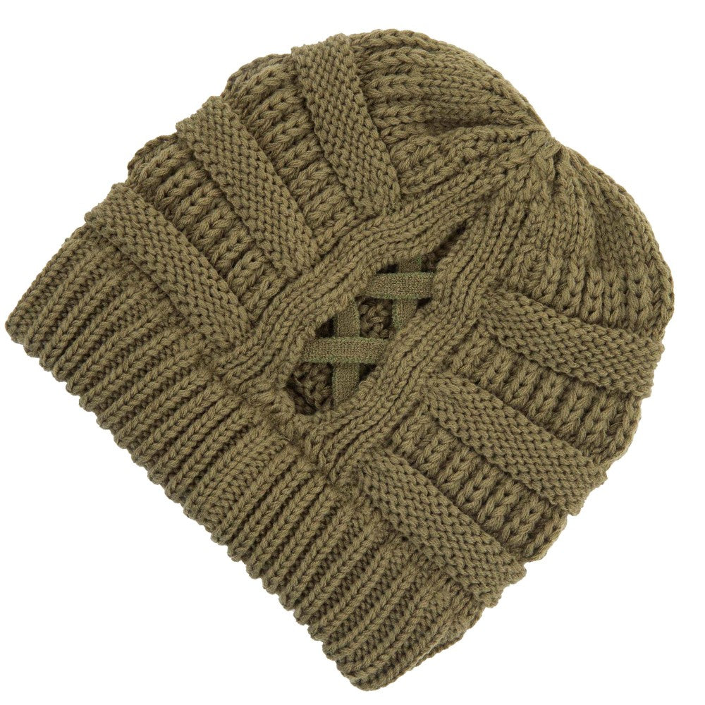 Criss Cross Ponytail Beanie - Olive