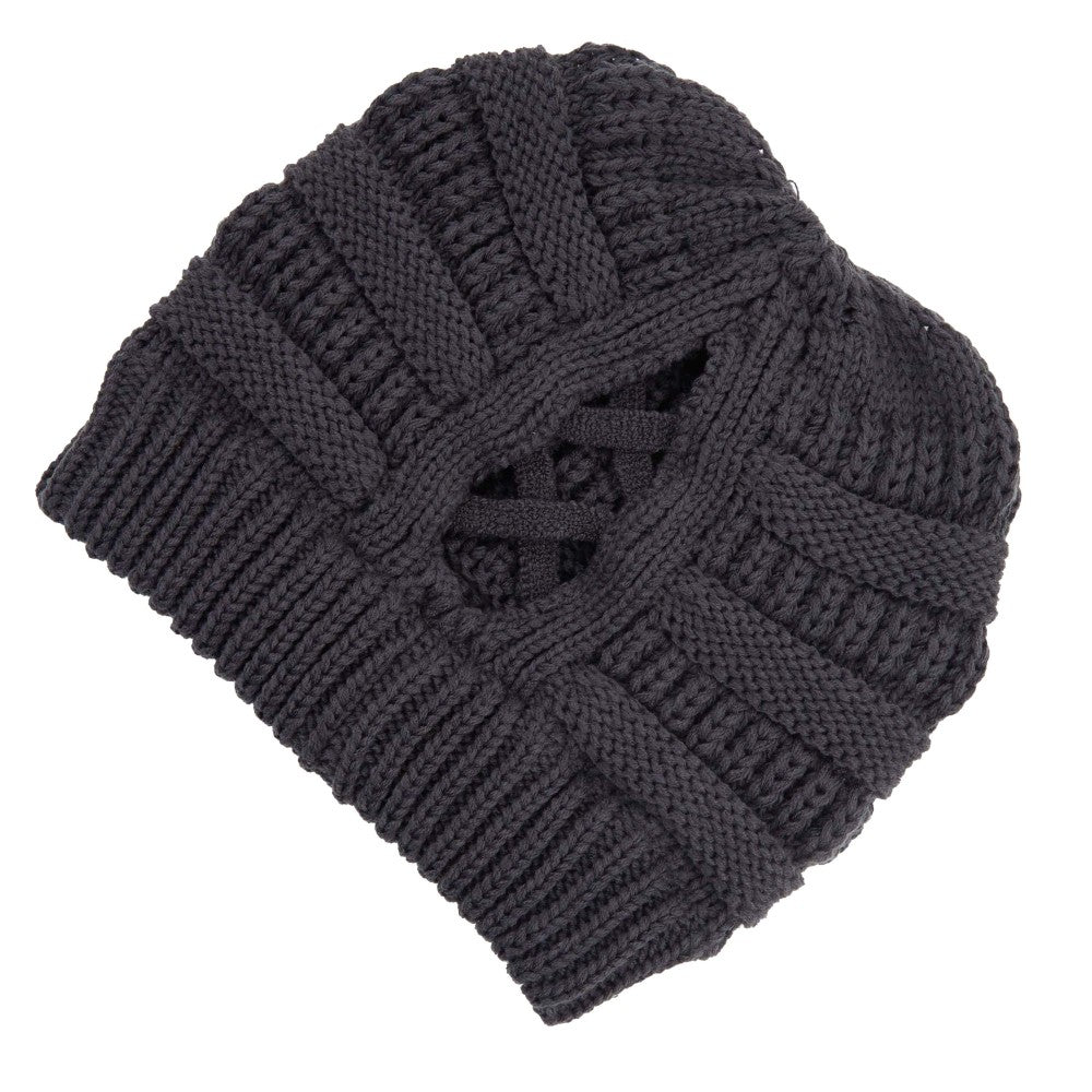 Criss Cross Ponytail Beanie - Dark Melange Grey
