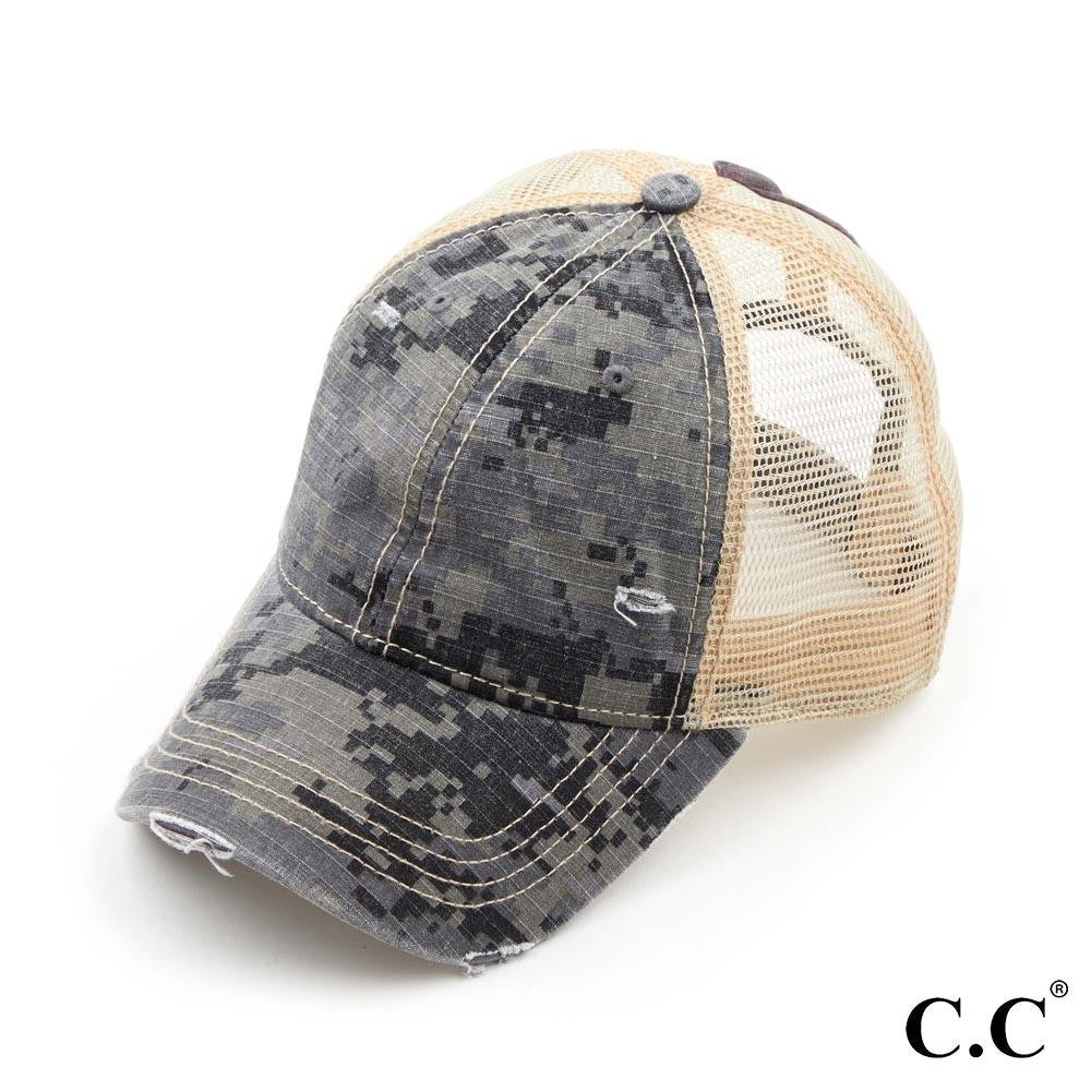 Camouflage Washed Cotton Twill Ponytail Cap With Mesh
