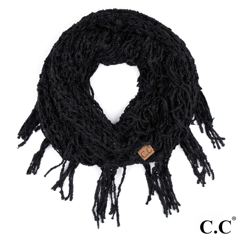 Chenille Infinity Scarf - Black