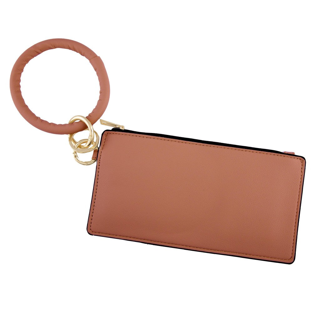 Faux Leather Keyring Wallet - Brown