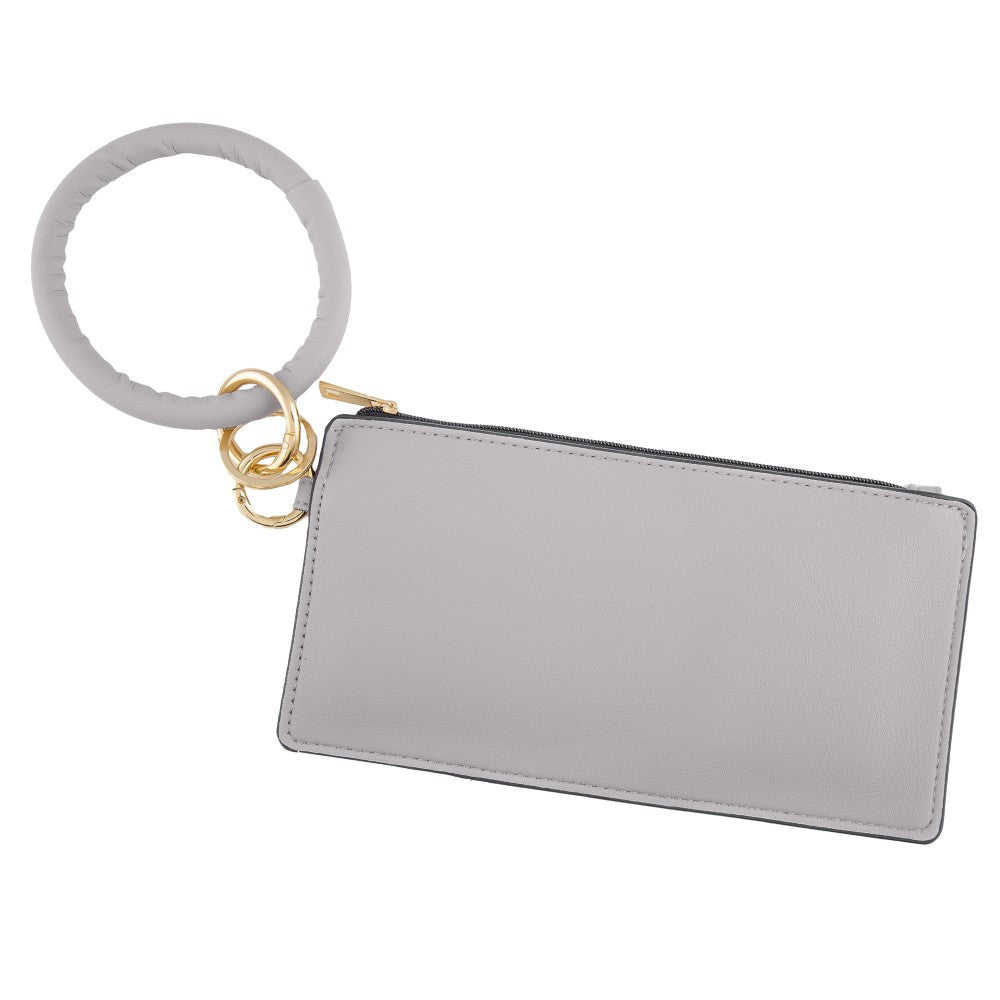 Faux Leather Keyring Wallet - Grey