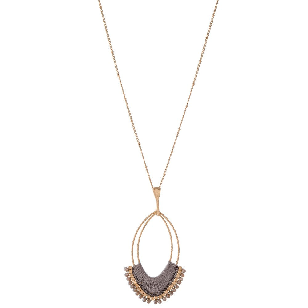 Oval Pendant Necklace - Grey