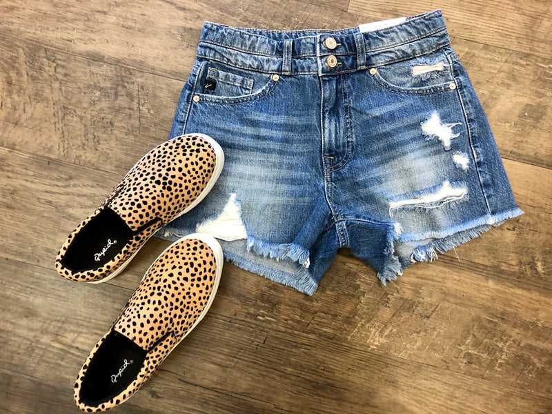 Distressed Denim Shorts-Medium Wash