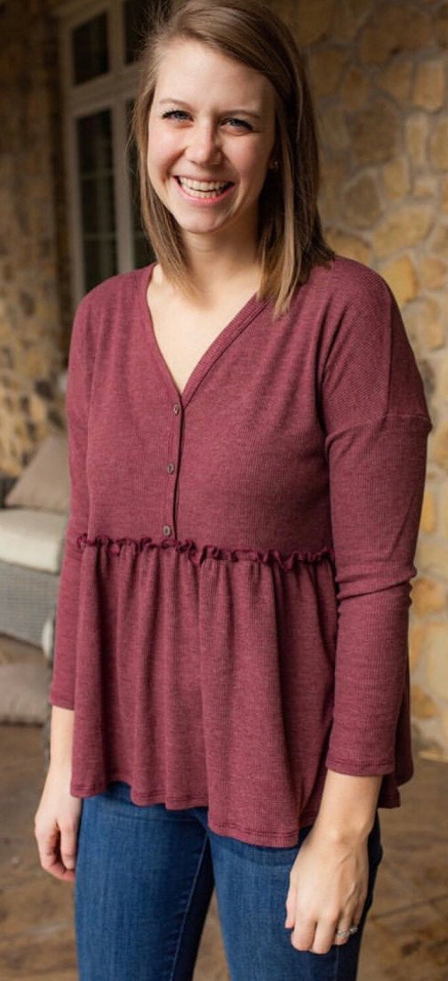 Red Brown Button V Neck
