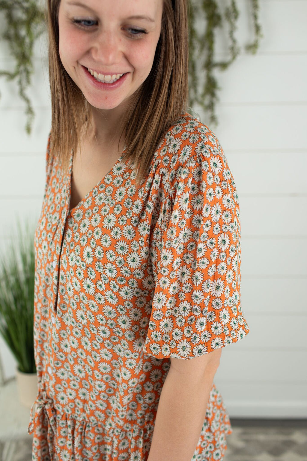 Daisy Floral Top-Orange