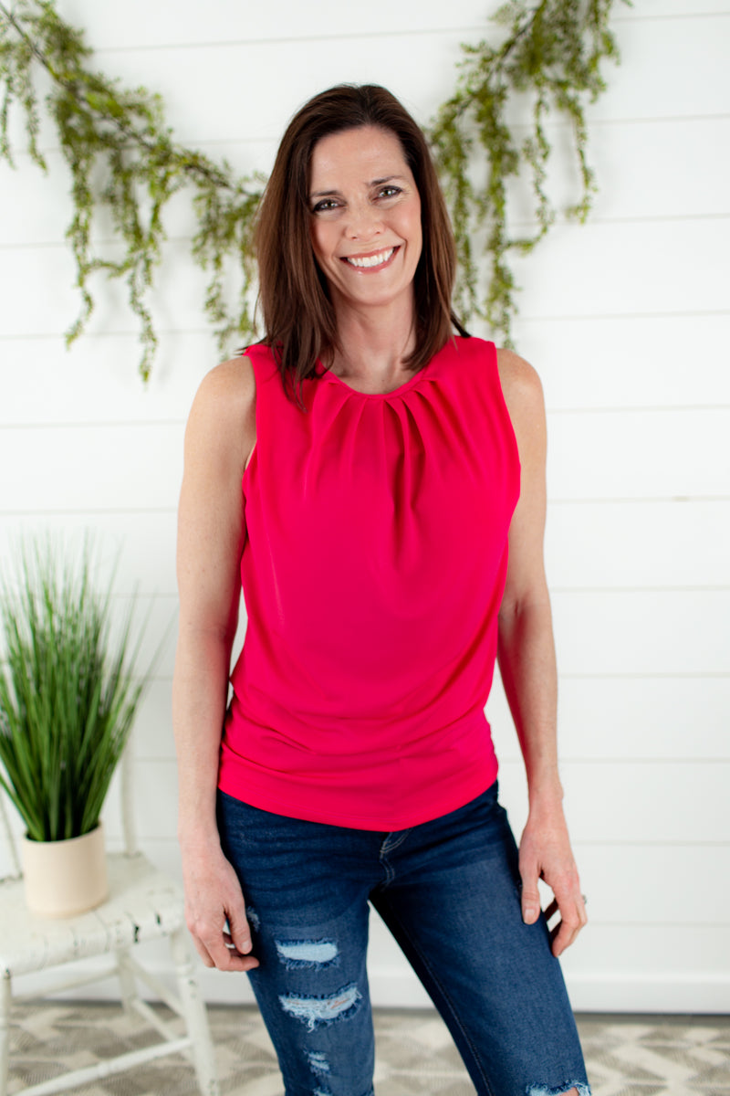 Pleated Tank-FUCHSIA