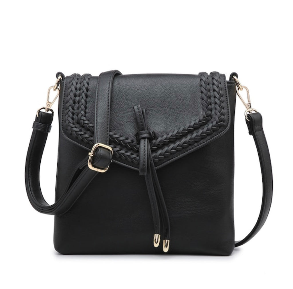 Flapover Braided Crossbody - Black
