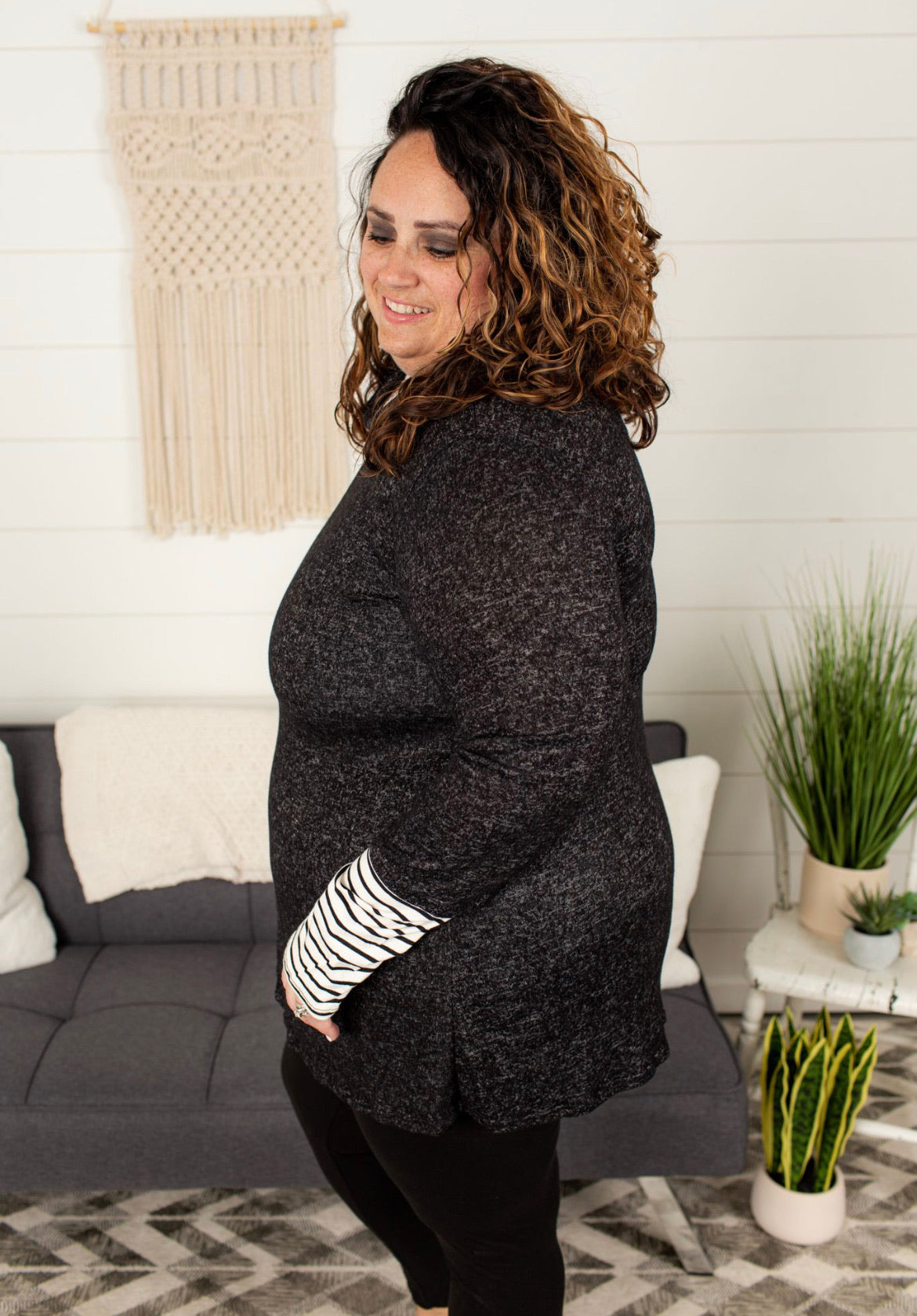 Cowl Neck Sweater Plus - Black