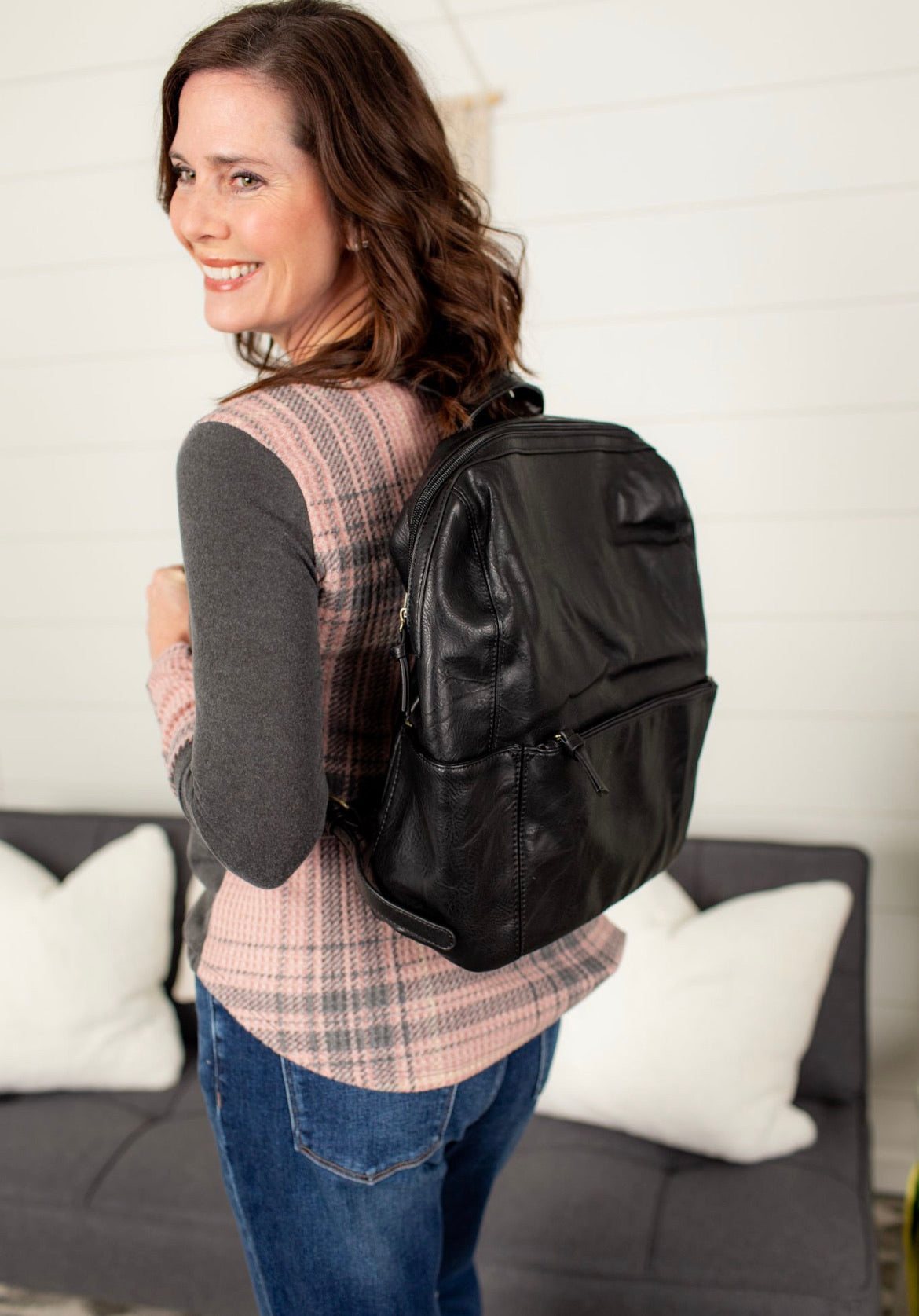 Backpack With Front Zip Pocket - Black