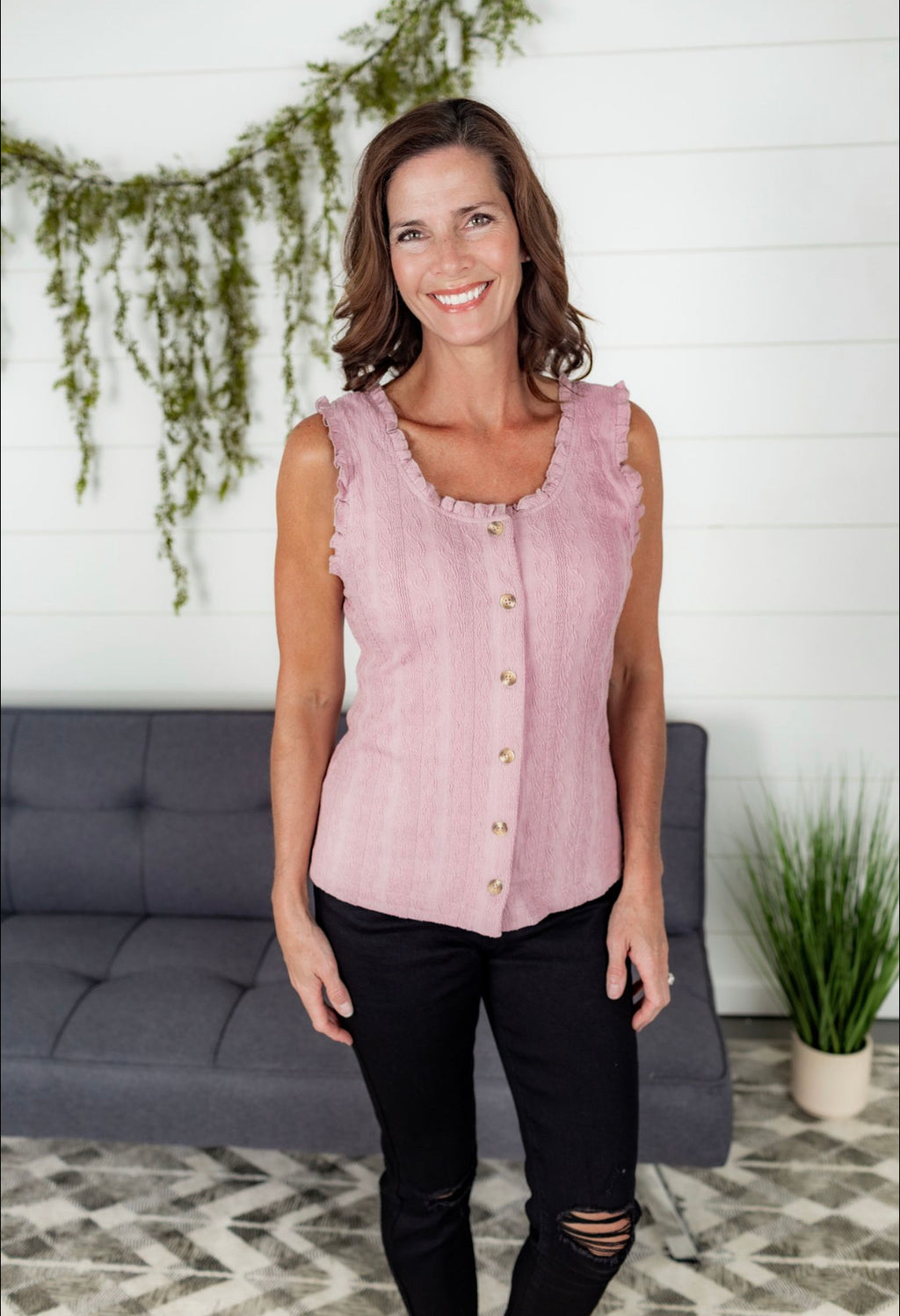 Button Down Cable Knit Texture Top - Mauve