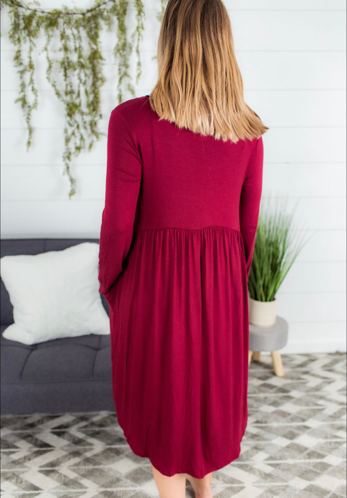 Empire Pocket Dress - Burgundy