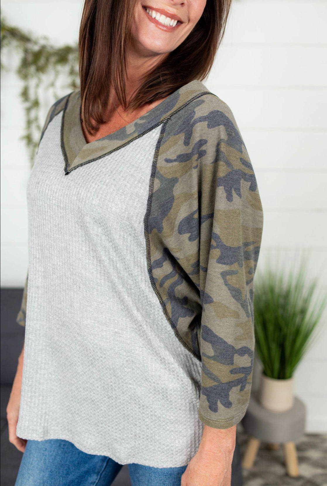 Camo Raglan Top - Heather Grey
