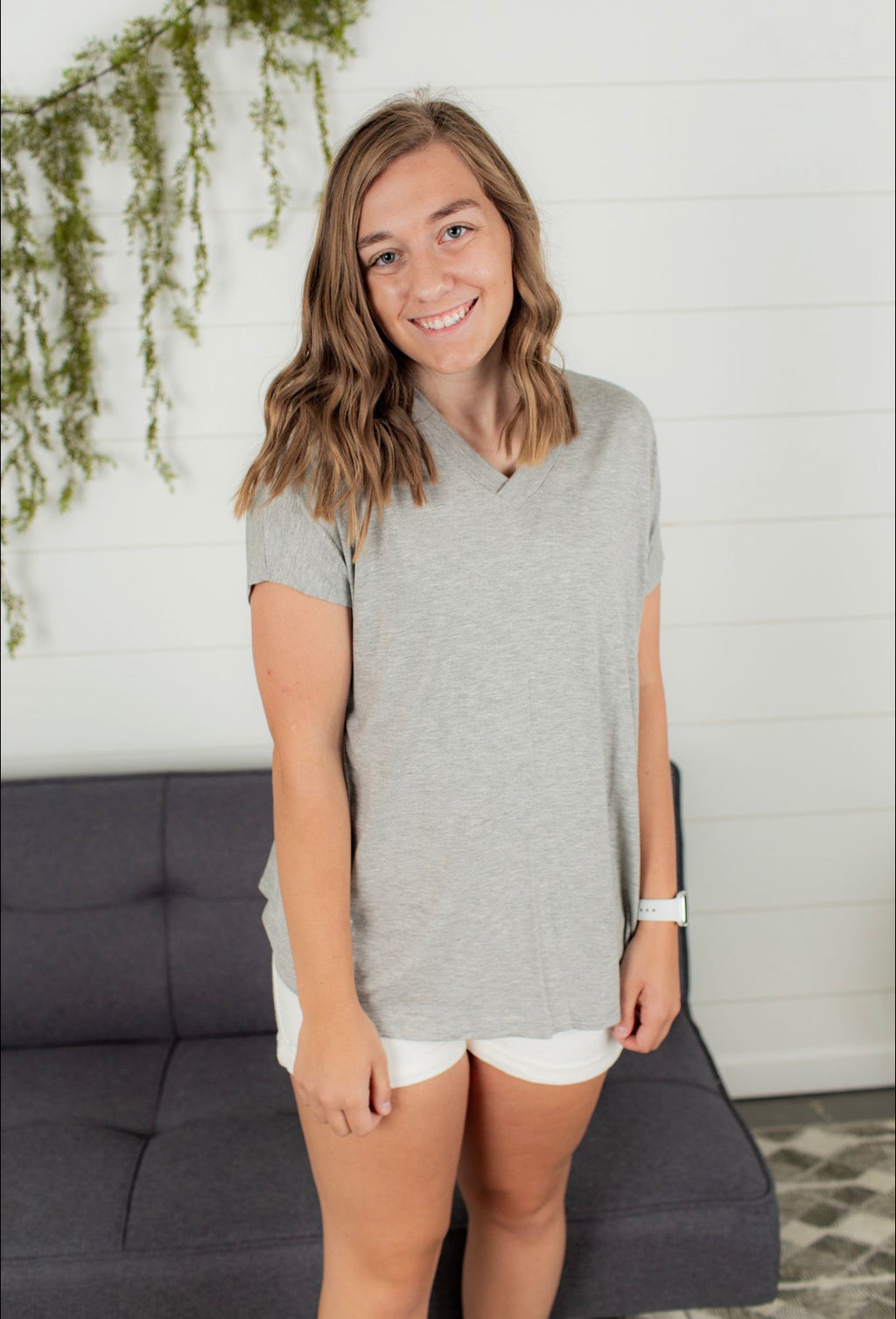 V Neck Short Sleeve - Heather Grey