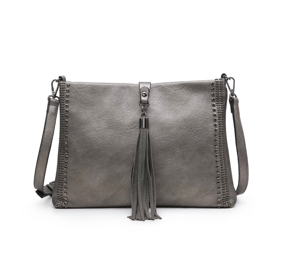 Crossbody With Grommet Details And Foldover Tassel