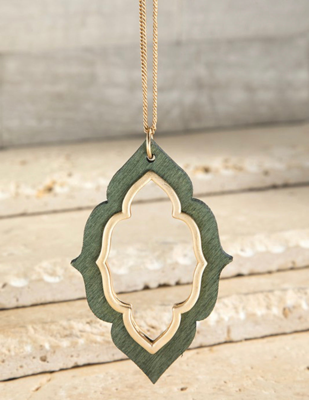 Wooden Marquee Necklace - Olive