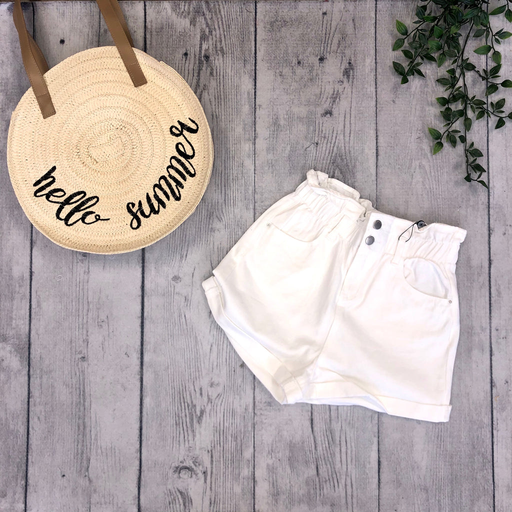 Elastic High Waist Shorts - Off White