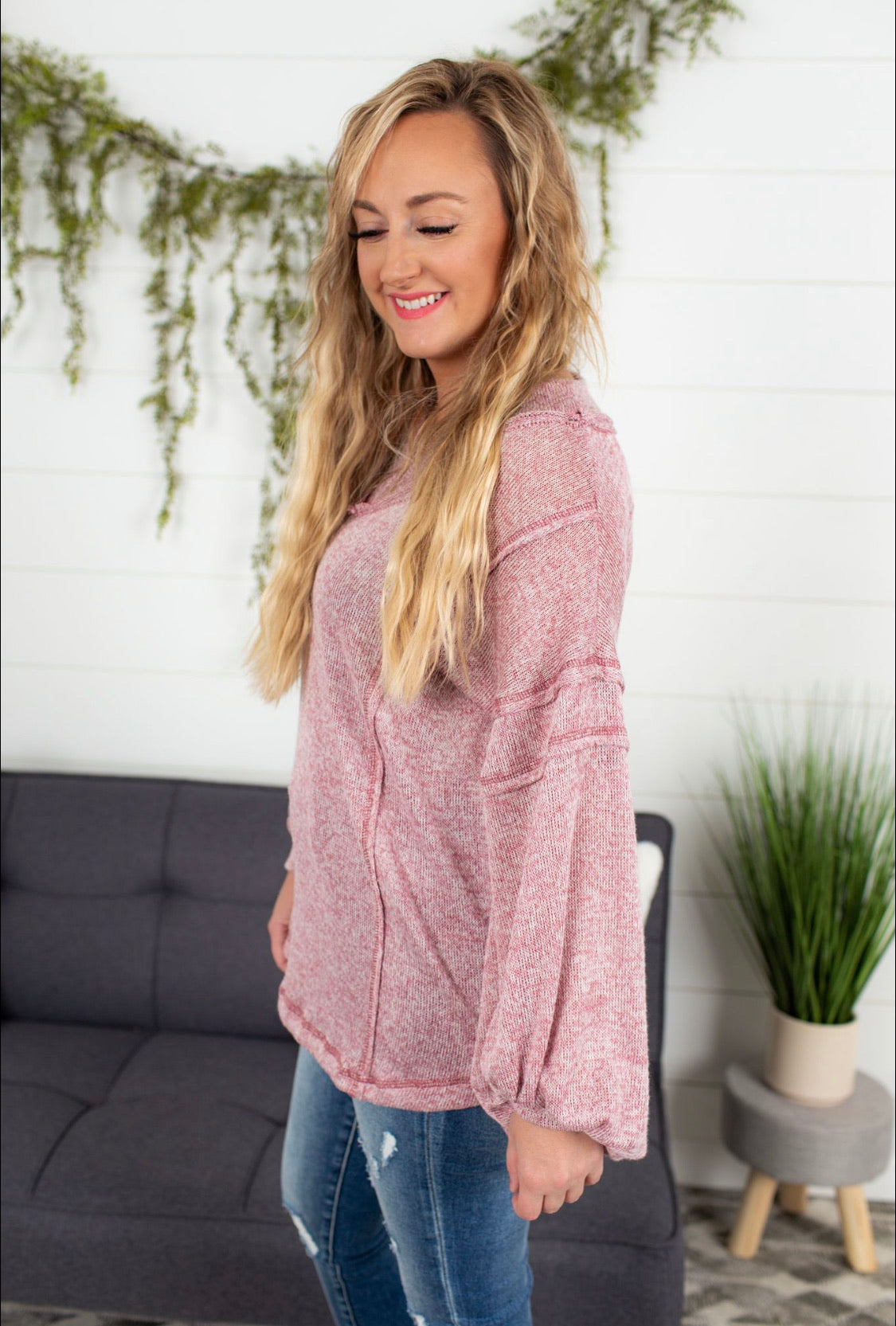 Raw Edged V-neck Sweater - Mauve