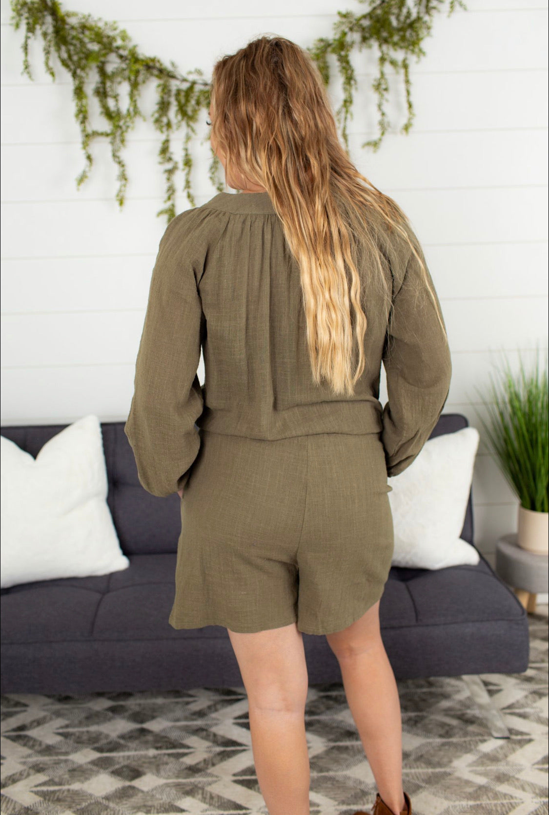 Button-down Drawstring Romper - Army