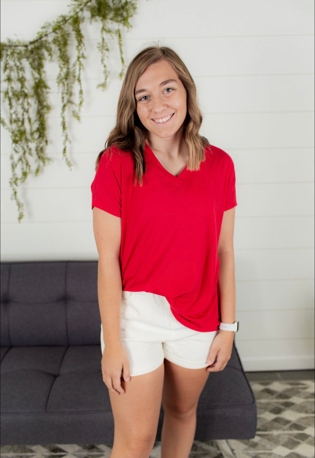 V Neck Short Sleeve - Red