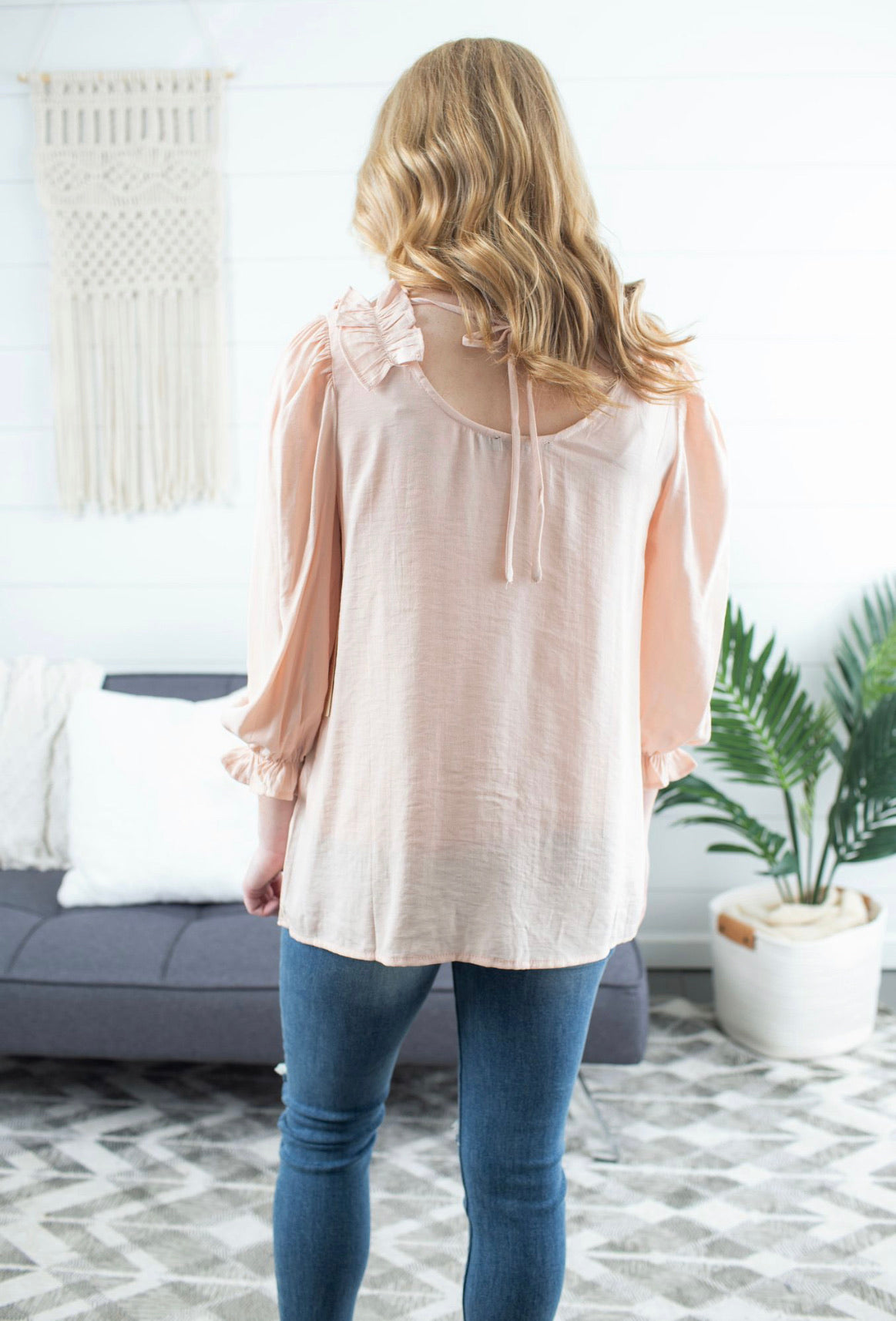 Ruffle Patch V Neck Top