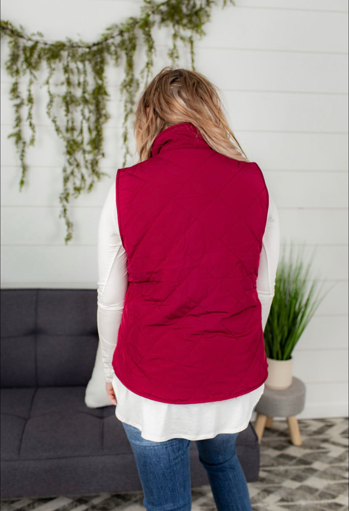Reversible Quilted Sleeveless Vest - Wine
