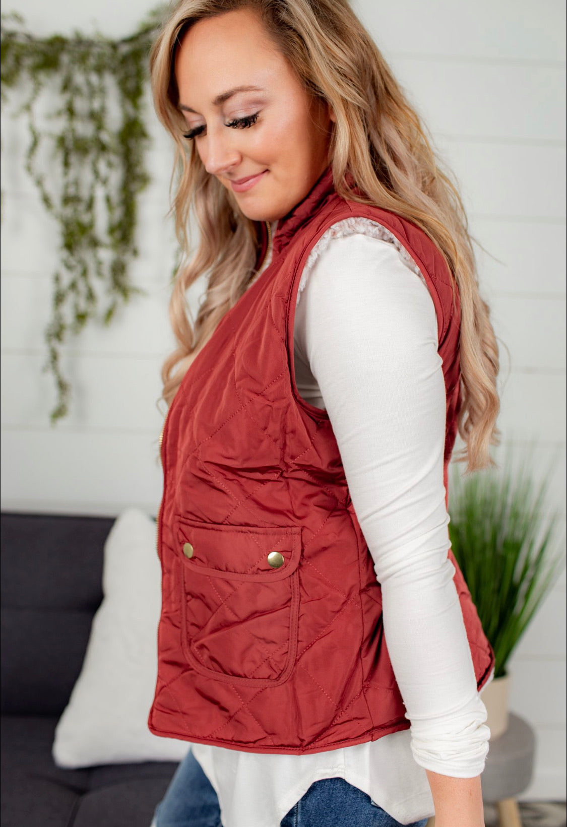 Reversible Quilted Sleeveless Vest - Rust