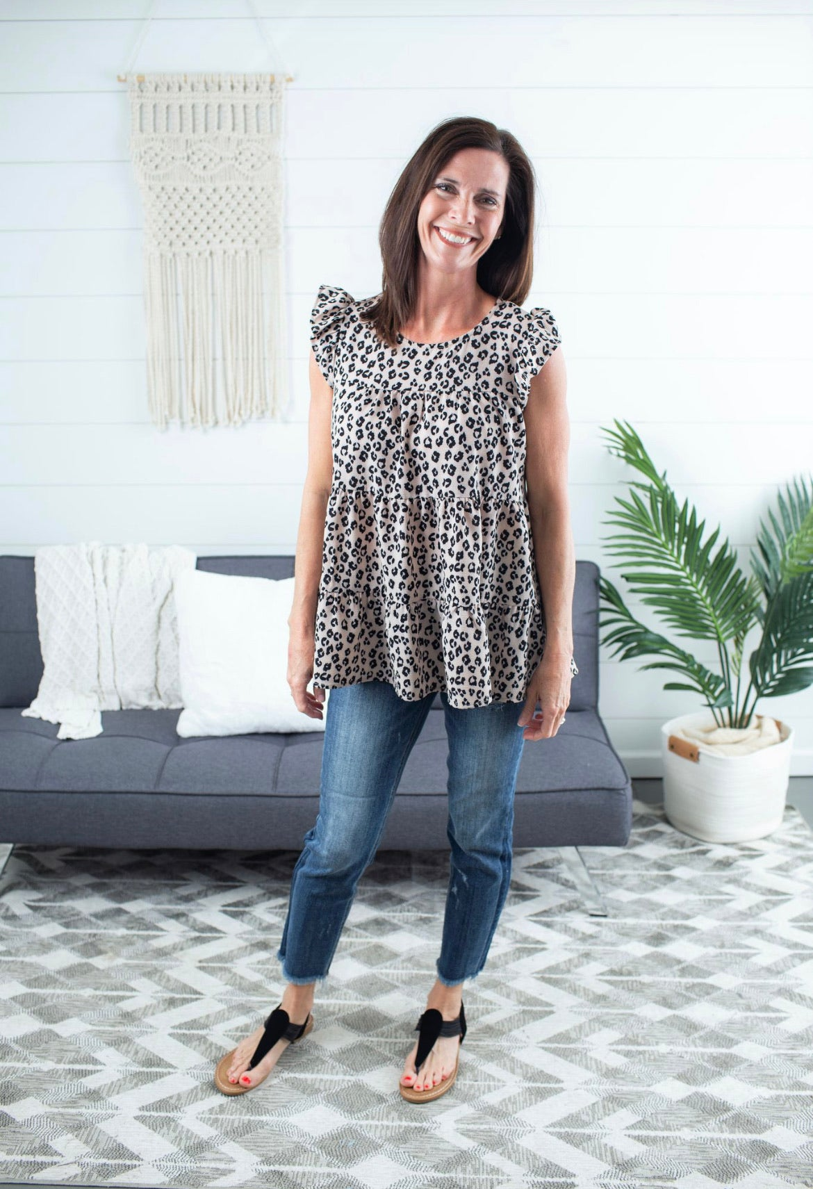 Leopard Tiered Top - Taupe