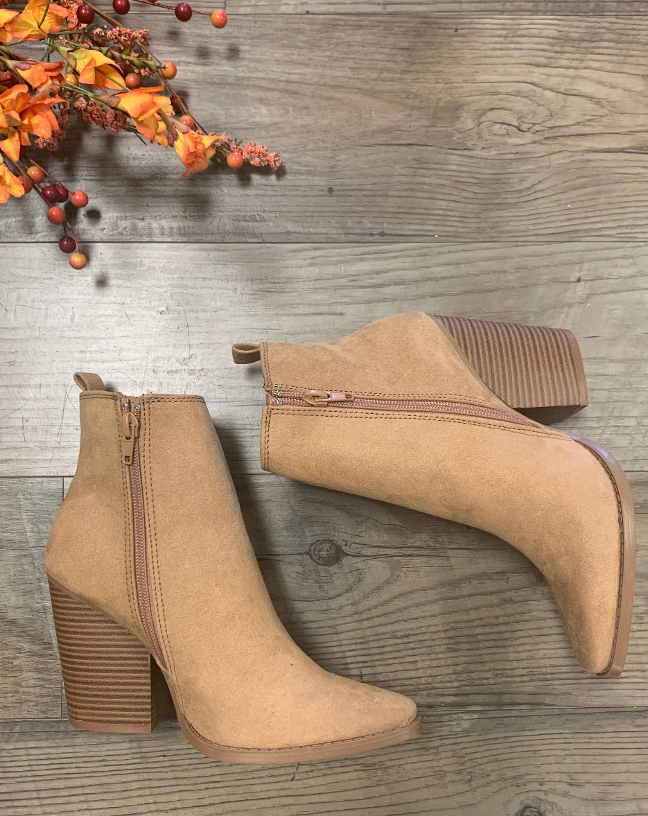 Casual Suede Ankle Bootie - Butterscotch