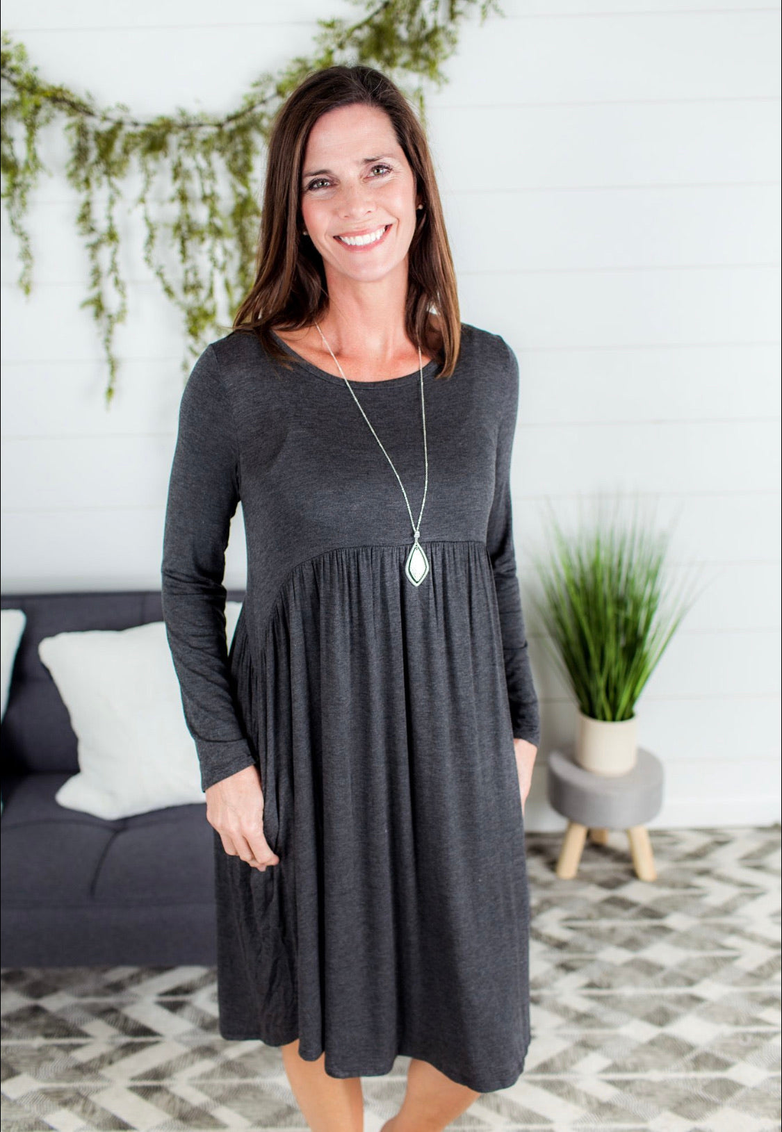 Empire Pocket Dress - Charcoal